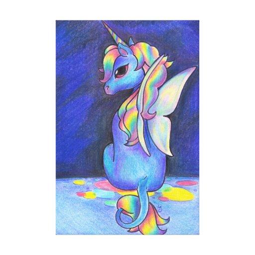 Unicornio del Faerie del arco iris Impresiones De Lienzo