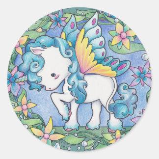 Unicornio del Faerie Etiquetas Redondas