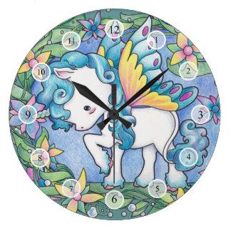 Unicornio del Faerie Relojes De Pared