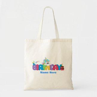 Unicornio del feliz cumpleaños (personalizado) bolsa tela barata