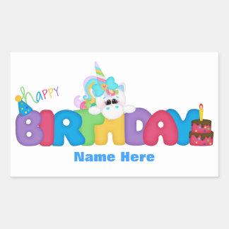 Unicornio del feliz cumpleaños (personalizado) pegatina rectangular