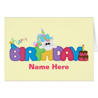Unicornio del feliz cumpleaños (personalizado) tarjeta de felicitación