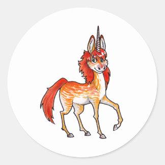 Unicornio del fuego pegatina redonda