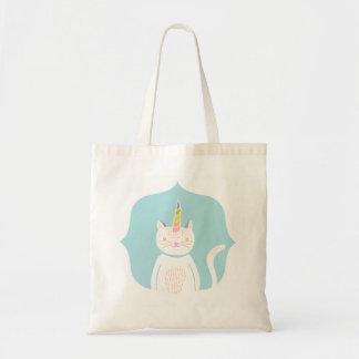 Unicornio del gatito bolsas lienzo