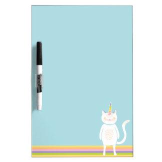 Unicornio del gatito pizarras blancas de calidad