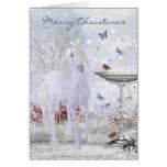 Unicornio del invierno de las Felices Navidad, pet Felicitaciones