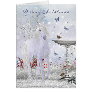 Unicornio del invierno de las Felices Navidad, Tarjeta De Felicitación