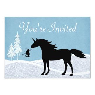 Unicornio del invierno e invitación del cumpleaños invitación 12,7 x 17,8 cm