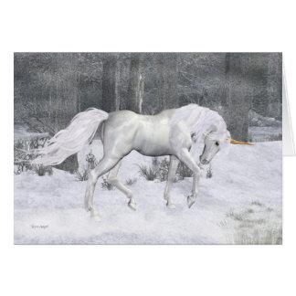 Unicornio del invierno. tarjeta de Navidad de la f