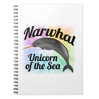 Unicornio del mar arco iris lindo de Narwhal Libreta