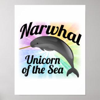 Unicornio del mar arco iris lindo de Narwhal Poster