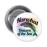 Unicornio del mar, arco iris lindo de Narwhal Pin Redondo 5 Cm