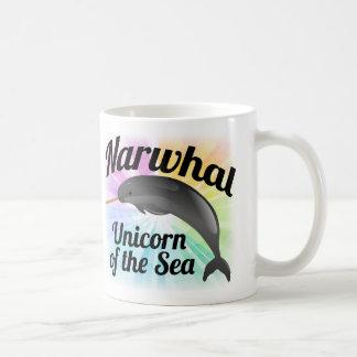 Unicornio del mar, arco iris lindo de Narwhal Taza De Café