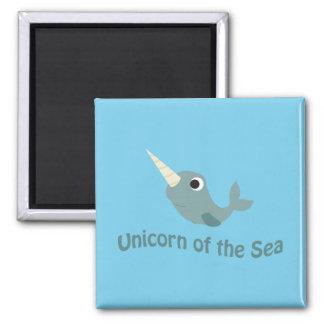 Unicornio del mar imán cuadrado