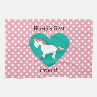 Unicornio del mejor amigo del mundo toalla de mano