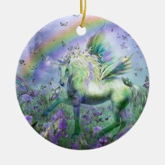 Unicornio del ornamento del día de fiesta de las adorno navideño redondo de cerámica
