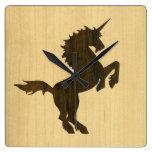 Unicornio del palo de rosa reloj