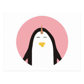 Unicornio del pingüino tarjetas postales