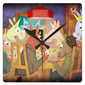 Unicornio del póker reloj cuadrado