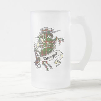 Unicornio del tartán de Carnegie Jarra De Cerveza Esmerilada