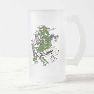 Unicornio del tartán de Holmes Jarra De Cerveza Esmerilada