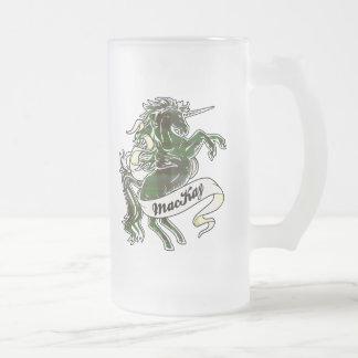 Unicornio del tartán de MacKay Jarra De Cerveza Esmerilada