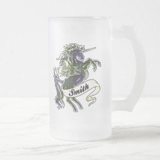 Unicornio del tartán de Smith Jarra De Cerveza Esmerilada