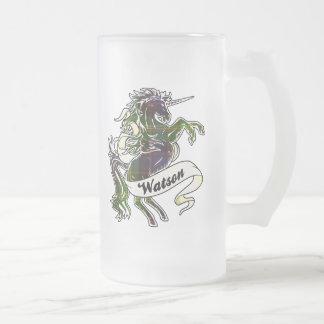 Unicornio del tartán de Watson Jarra De Cerveza Esmerilada