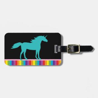 Unicornio del trullo y etiqueta del equipaje del a etiquetas de maletas
