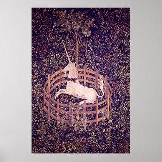 Unicornio del vintage en la impresión de la tapice póster