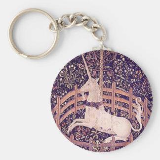 Unicornio del vintage en tapicería del cautiverio llavero
