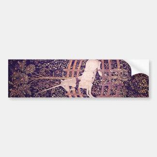 Unicornio del vintage en tapicería del cautiverio pegatina para auto