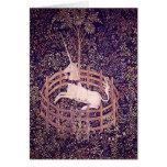 Unicornio del vintage en tapicería del cautiverio felicitacion