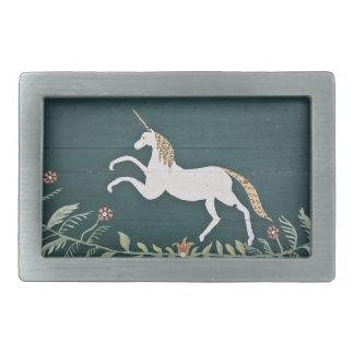 Unicornio del vintage hebilla de cinturón rectangular