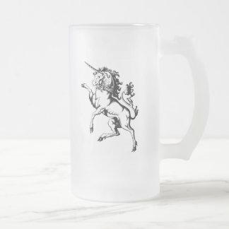 Unicornio desenfrenado jarra de cerveza esmerilada