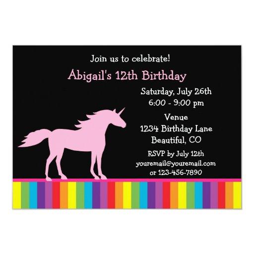 Unicornio e invitación del cumpleaños del arco invitación 12,7 x 17,8 cm