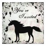 Unicornio e invitación mágica del cumpleaños de