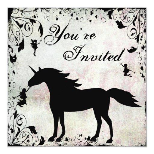 Unicornio e invitación mágica del cumpleaños de invitación 13,3 cm x 13,3cm