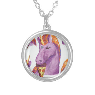 unicornio eating pizza silver plated necklace