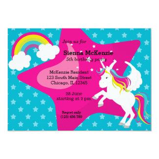 """Unicornio * ELIJA su color de fondo Invitación 5"""" X 7"""""""
