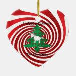Unicornio en árbol de navidad en remolinos rojos adorno de reyes