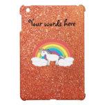 Unicornio en brillo anaranjado de las nubes falso iPad mini cárcasas