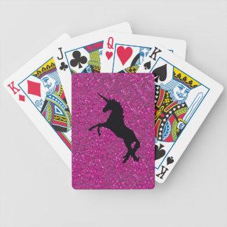 unicornio en brillo rosado baraja de cartas
