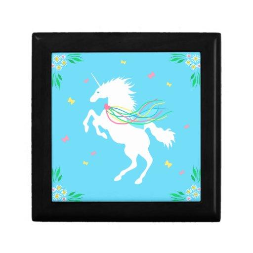 Unicornio en caja de regalo de la primavera joyero cuadrado pequeño