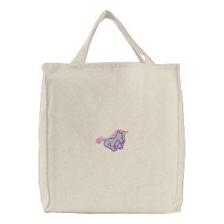 Unicornio en colores pastel bordado lindo bolsa