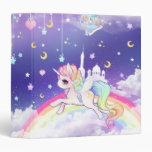 """Unicornio en colores pastel del kawaii lindo con carpeta 1 1/2"""""""