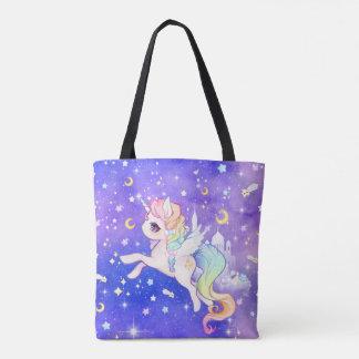Unicornio en colores pastel lindo de la galaxia bolsa de tela