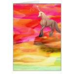 Unicornio en desierto pintado felicitacion