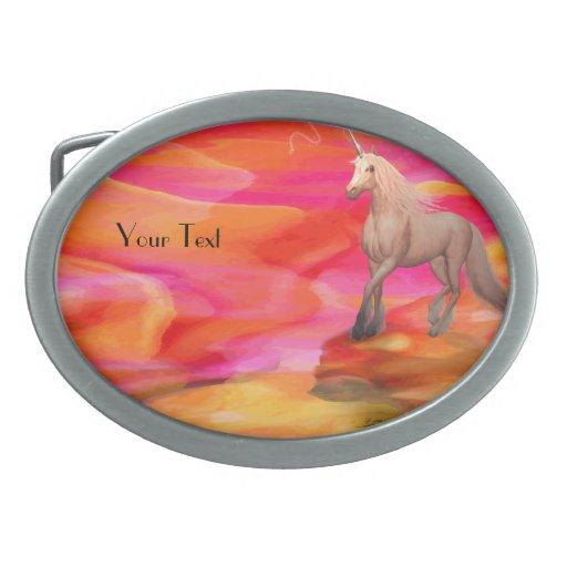 Unicornio en desierto pintado hebillas cinturón ovales