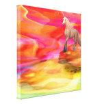 Unicornio en desierto pintado lona estirada galerias